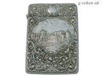 Edwardian  Silver Castle Top Card Case 1903
